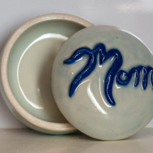 Mom Trinket Box, Blue Lettering