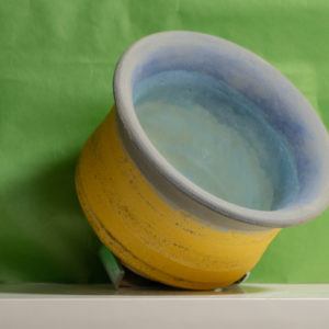 Squat Matt Yellow Ocher Bowl, Blue Interior