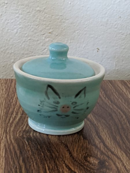 Teal Kitty Sugar Bowl