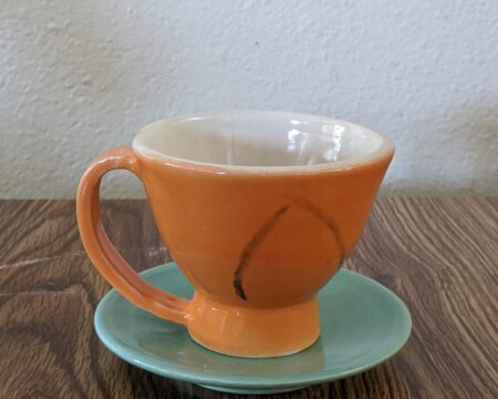 Orange Tea Cup, Teal Saucer