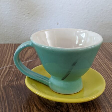 Teal Tea Cup, Yellow Saucer