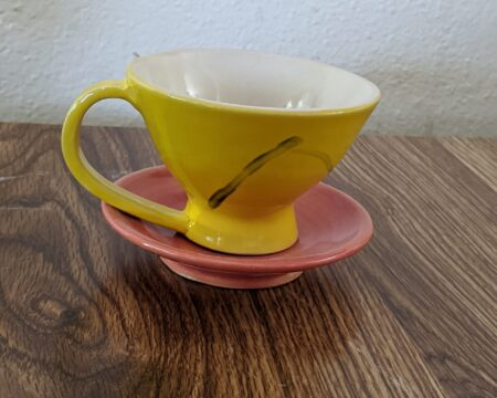 Yellow Tea Cup, Pink Saucer