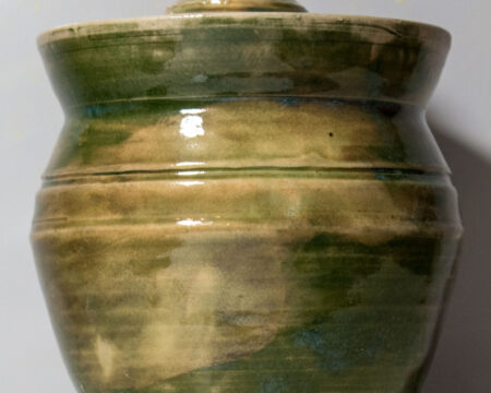 Covered Jar in Greens