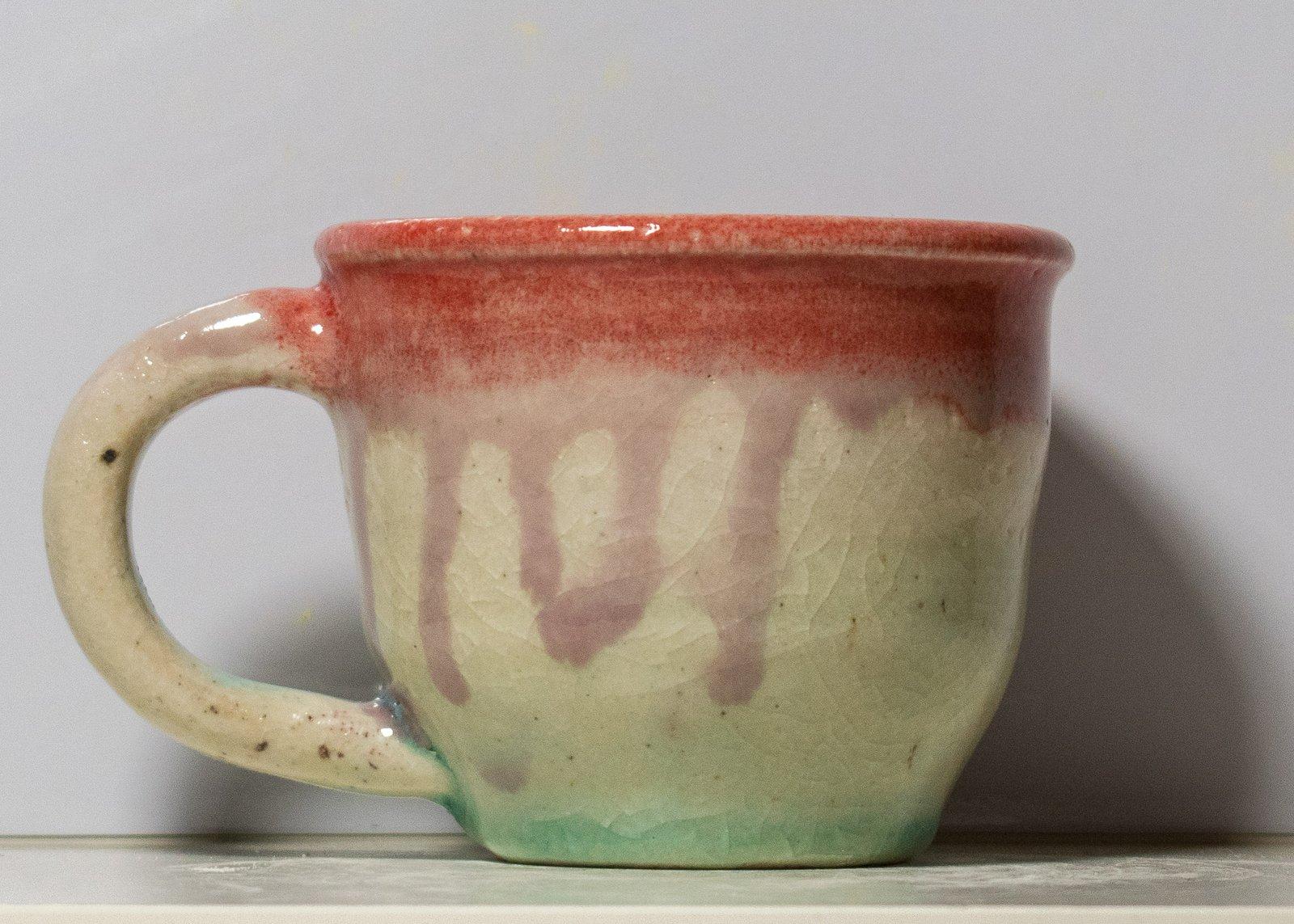 Small Red Rim and Teal Mug