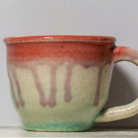 Small Red Rim and Teal Mug